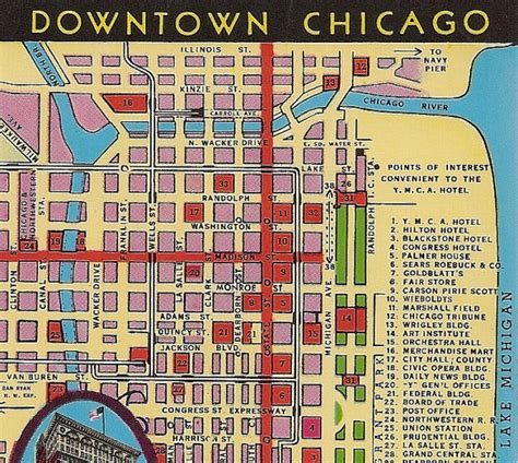 map of downtown chicago vintage chicago map postcard downtown chicago ymca hotel