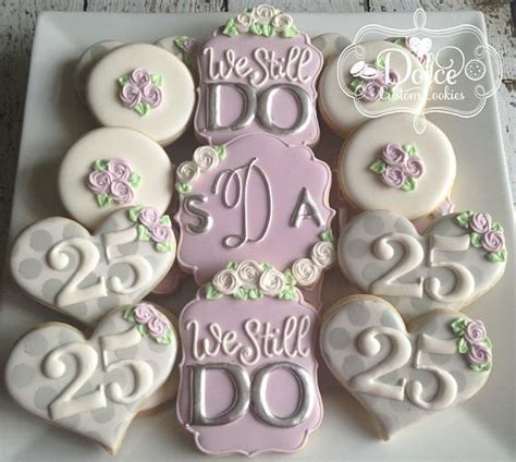 25th or 50th Wedding Anniversary Silver or Gold Cookies