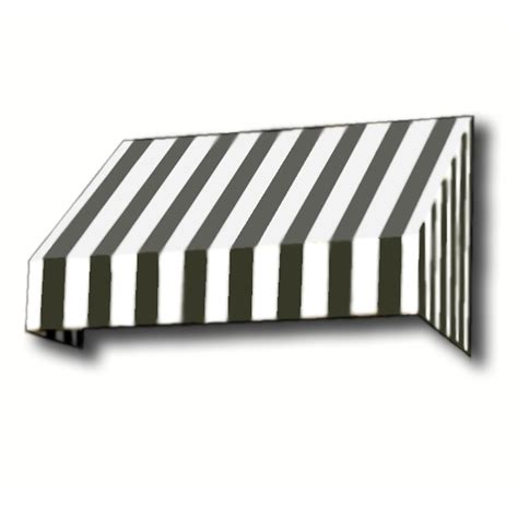 And White Striped Awning by Shop Awntech 124 5 In Wide X 36 In Projection Black White