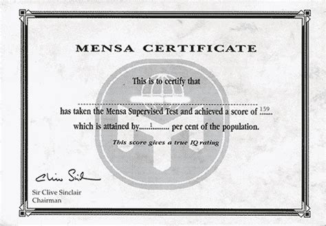 mensa certificate template related keywords mensa