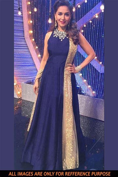Buy Madhuri DixitBollywood Replica Silk Fabric Gown Blue