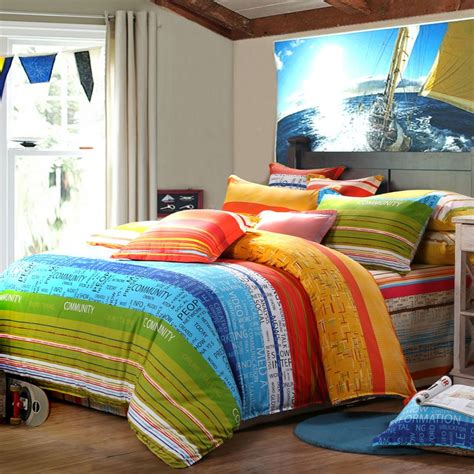 bright multi colored comforters sky blue green and yellow red multi stripe print and