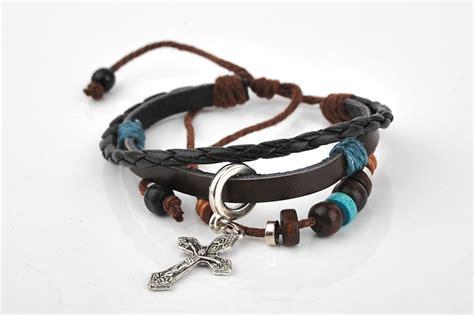Cool Vintage Women Men Cross Charm Woven Leather Bracelets Jewelry Wire Wrapped Bracelet Best