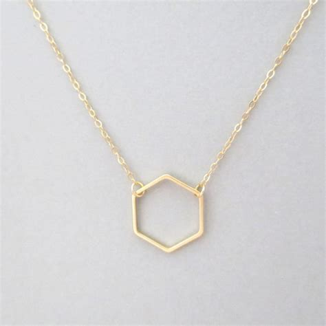 gold hexagon necklace delicate gold necklace geometric