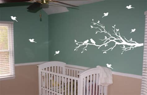 Decal Sticker Gordon S G 005 Glossy free shipping tree branch with 10 birds wall decals