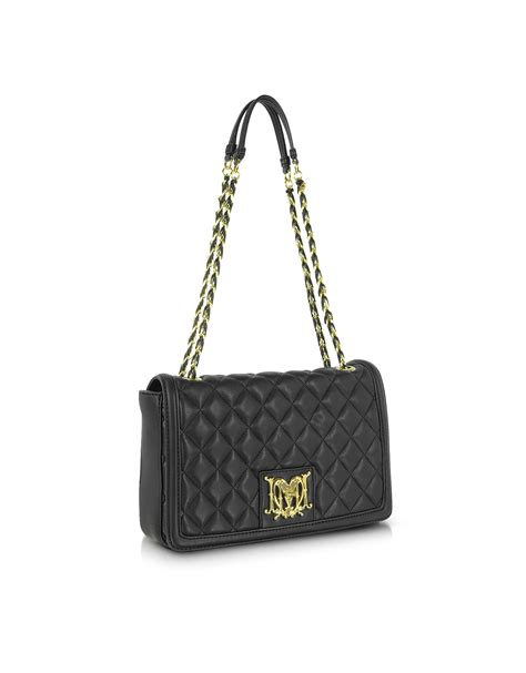 Maloles Handbag by Lyst Moschino Quilted Eco Leather Shoulder Bag In Black