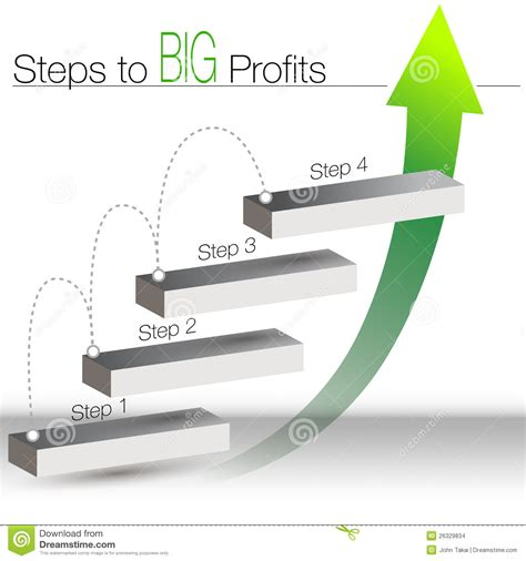 5 steps to profit through bad credit how one did the unbelieaveable and turned his finances around and you can books steps to big profits chart stock images image 26329834