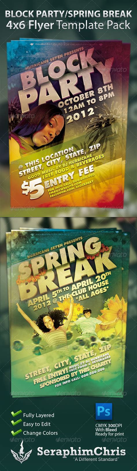 Block Party And Spring Break Flyer Template Pack By Seraphimchris Graphicriver Block Flyer Template Summer
