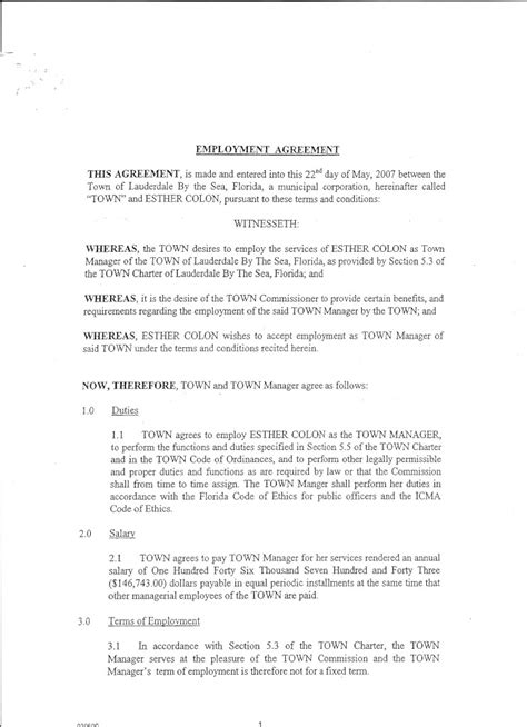 Severance Agreement Negotiation Letter Town Attorney Cherof 171 Barbara Cole By The Sea