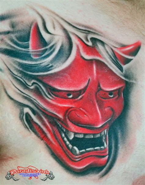 red hannya mask tattoo designs 62 japanese hannya mask tattoos