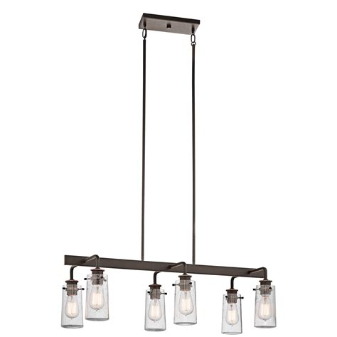 kichler kitchen lighting kichler braelyn linear 6 light kitchen island pendant