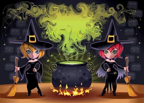 vektor illustration von cartoon halloween k 252 rbis lustige hexen mit topf cartoon und vektor illustration