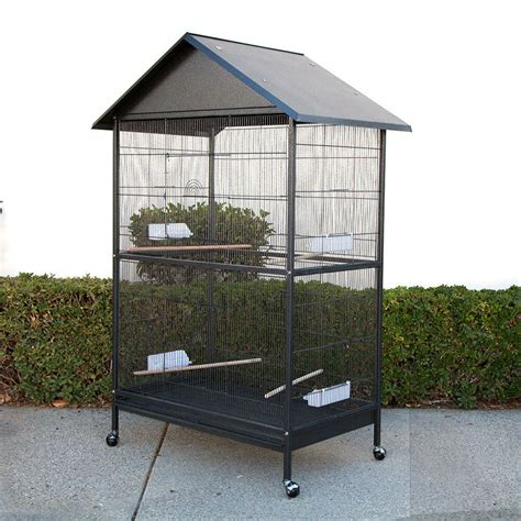 large bird cages large bird cage parrot aviary with roof w45 x d29 x h67 cockatiel parakeets ebay