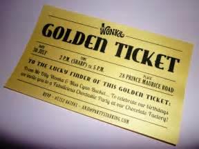 golden ticket invitations printed willy wonka invitation