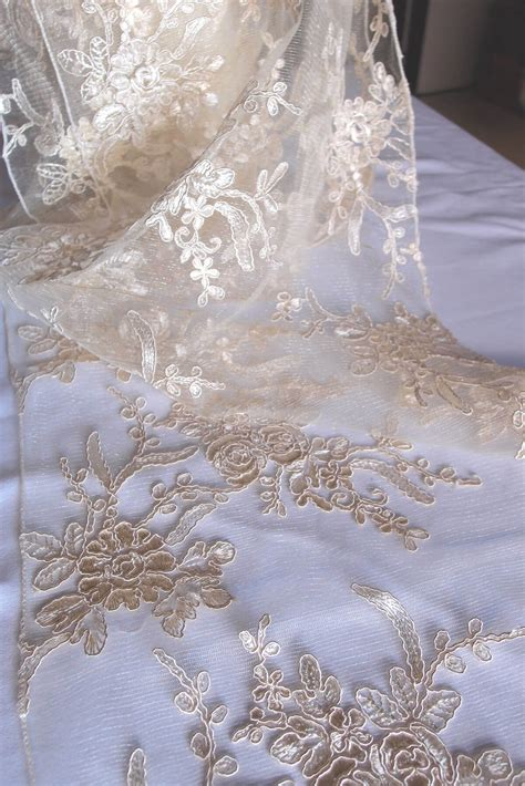 organza table runners wedding table runners ivory floral lace embroidered organza 14 x 108