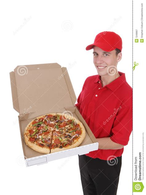 pizza delivery handsome at the royalty free stock