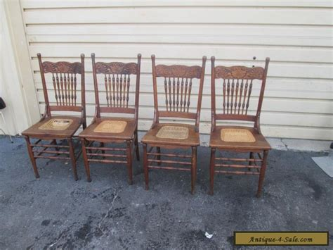 Antique Dining Room Chairs For Sale | 56629 set 4 antique solid oak dining room chair s chairs