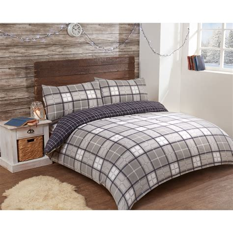 h and m bedding check brushed cotton duvet set double bedding b m