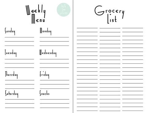 printable grocery list by department weekly menu planner grocery list free printable for