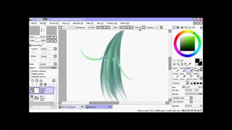 how to color draw hair in paint tool sai
