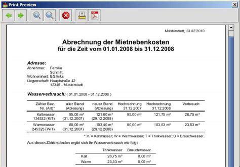 Muster Nebenkostenabrechnung Word mietnebenkostenrechner freeware de