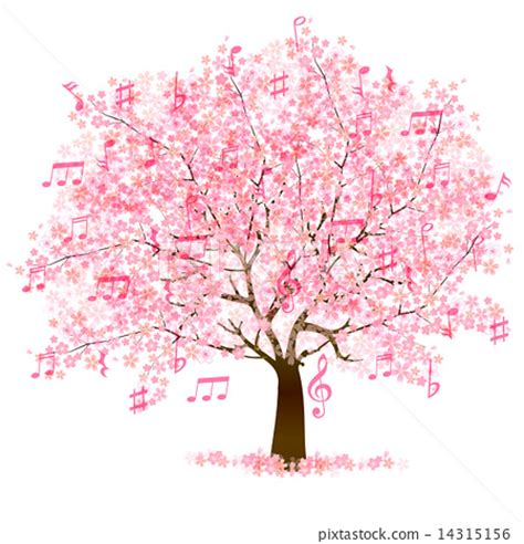 cherry tree notes cherry blossom cherry tree musical note stock illustration 14315156 pixta