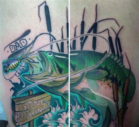 gone fishing tattoo 75 bass designs for sea fairing ink ideas