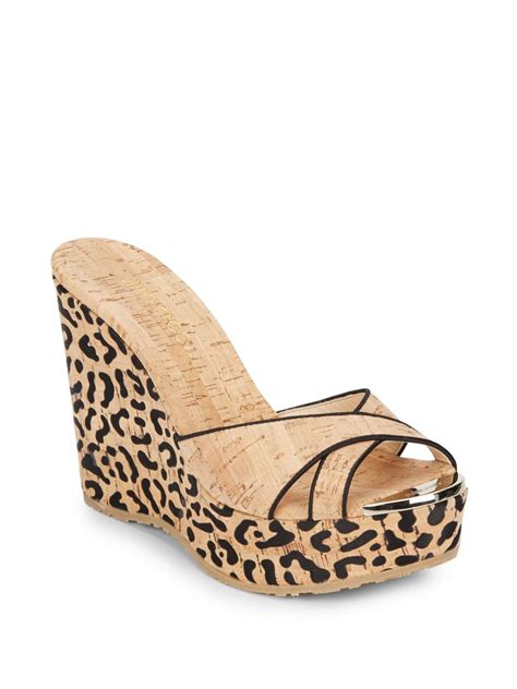 Mossimo Parry Patent Cork Slide Wedges by Lyst Jimmy Choo Perfume Cork Wedge Platform Slides