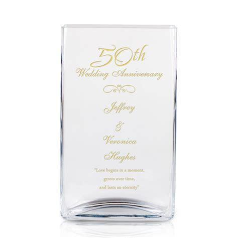 Wedding Anniversary Vase by 50th Wedding Anniversary Engraved Rectangular Glass Vase