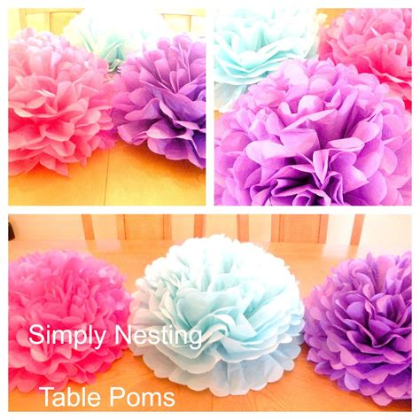 How To Make Centerpieces With Tissue Paper - 1 table centerpiece tissue paper pom pom table