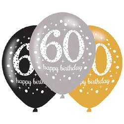 60th decorations 6 x 60th birthday balloons black silver gold