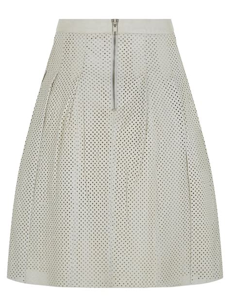 lavalle white pleated leather skirt