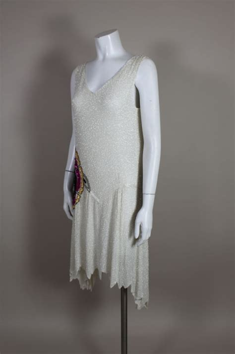 1920 s white beaded flapper dress with deco flower at 1stdibs