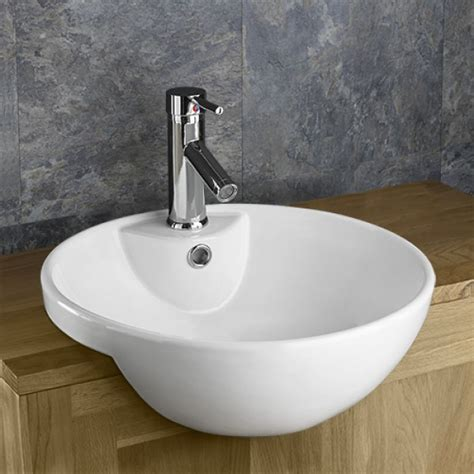 Bathroom Tile Ideas Uk Alsace Circular Round Inset Semi Recessed Sink Washbasin