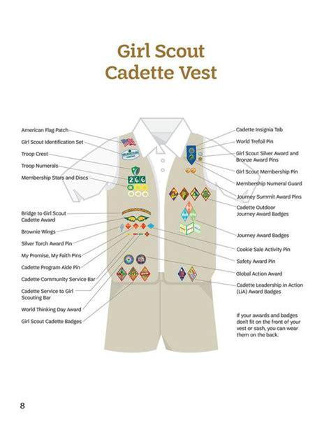 scout junior sash diagram placement on the scout cadette vest including the