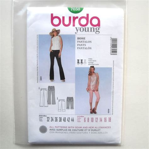 sewing patterns young fashion slim pants burda young fashion sewing pattern 7050