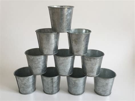 10pcs lot d6 5 h6cm vintage nostalgia mini garden silver tin succulent planter mini galvanized