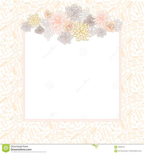 Square Greeting Card Template by Flower Square Card Template Vector Stock Vector Image