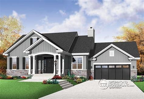 Bungalow House Plans With Basement And Garage W3236 V1 Craftsman Bungalow Open Living Concept Two Car Garage Fireplace In Family Room