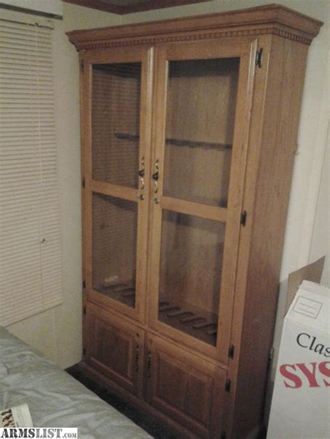 Glass Cabinet Doors For Sale Armslist For Sale Large Wooden Gun Cabinet W Glass Doors