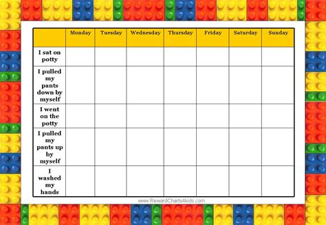 potty reward chart template 9 best images of blank weekly potty chart printable