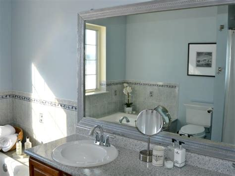add frame to bathroom mirror photo page hgtv