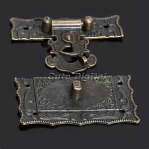 5pcs antique bronze carved decorative jewelry box hasp
