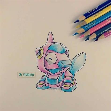 ac colored pencils porygon colored pencil drawing