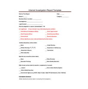 investigation report template investigation report template 17 free sle exle