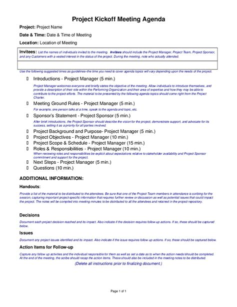 Project Kickoff Meeting Presentation Template Project Kickoff Meeting Presentation Template