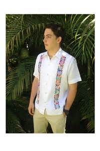 Home Decor Accessories guayabera with multi colored oaxacan embroidery