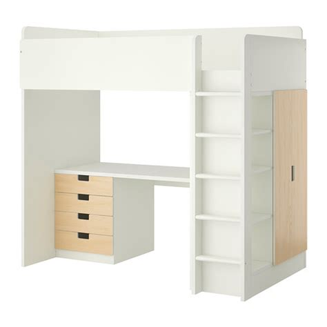loft bed with drawers stuva loft bed with 4 drawers 2 doors white birch ikea