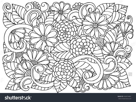 pattern drawing book doodle floral pattern black white page stock vector