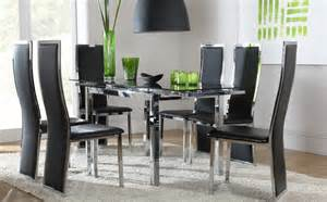 glass dining room table set space black glass amp chrome extending dining table and 6